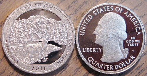 2011-S SILVER Deep Cameo Proof Olympic National Park Quarter Blast White Color