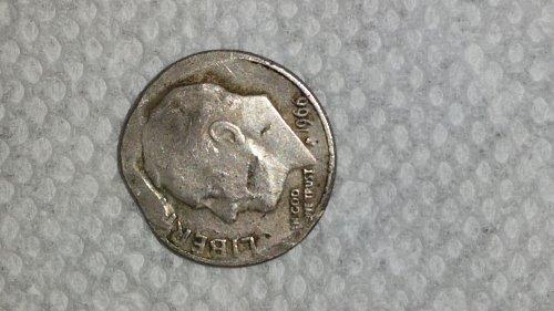 1966 clipped planchet,soft strike Roosevelt dime