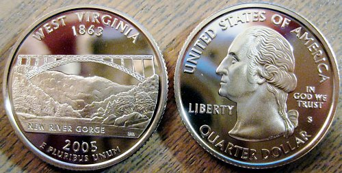 2005-S West Virginia Clad Deep Cameo Proof State Quarter Minimal Toning