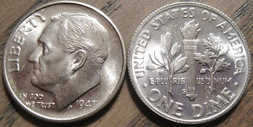 1947-S Brilliant Uncirculated Roosevelt Dime Nice Strike with Lots of Luster