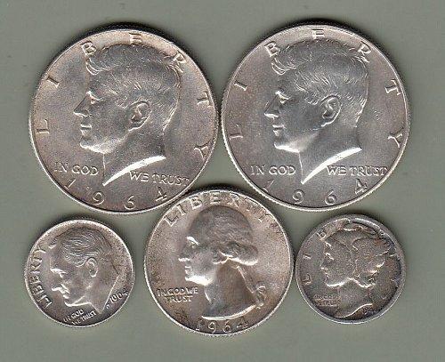 Bottom of the Desk Drawer- Half dollars, quarter, 2-dimes   / JV10