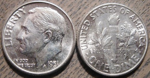 1951-P Brilliant Uncirculated Roosevelt Dime Nice Strike with Lots of Luster