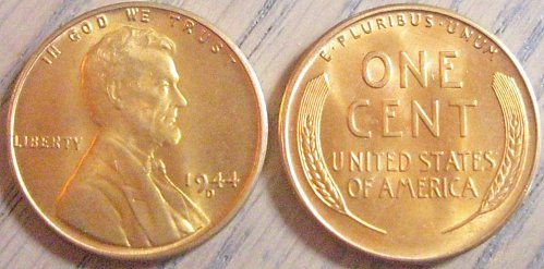 1944-D Brilliant Uncirculated Lincoln Cent Basically Eye Clean Like Those Shown