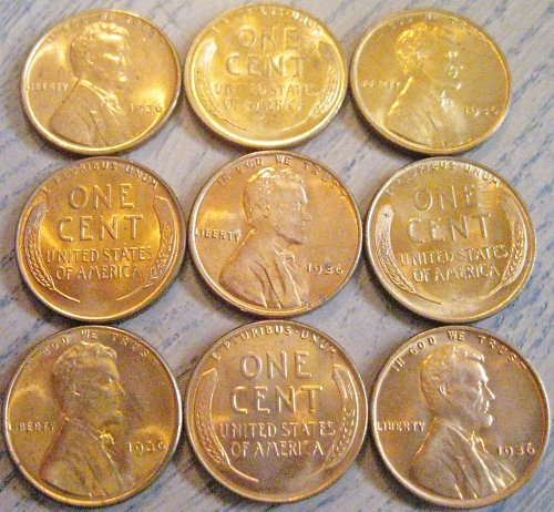 1936-P Brilliant Uncirculated Lincoln Cent Carbon Spotted One Like Those Shown