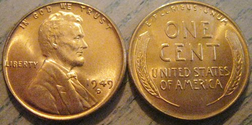 1949-D Brilliant Uncirculated Lincoln Cent Basically Eye Clean Like Those Shown
