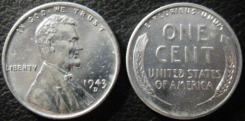 1943-D Brilliant Uncirculated Lincoln Cent Essentially Eye Clean No Rust