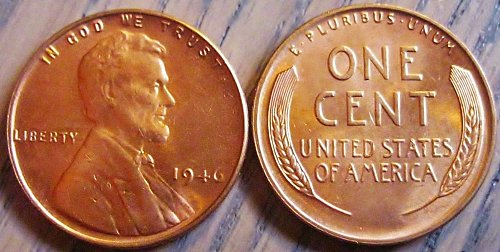 1946-P Brilliant Uncirculated Lincoln Cent Basically Eye Clean Like Those Shown