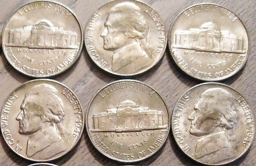 1946-D Brilliant Uncirculated Jefferson Nickel Toning Issues 1 Like Those Shown