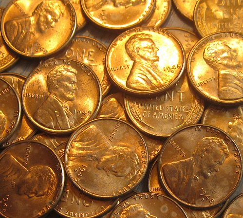 1948-D Brilliant Uncirculated Lincoln Cent Carbon Spotted One Like Those Shown