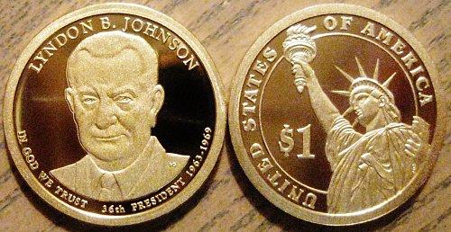 2015-S Deep Cameo Proof Lyndon Johnson Presidential Dollar Minimal Toning