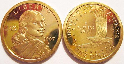 """2007-S Deep Cameo Sacagawea """"Golden"""" Dollar Minimal Toning"""