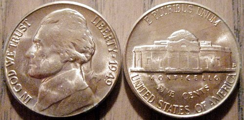 1949-D Brilliant Uncirculated Jefferson Nickel Eye Clean with Lots of Luster