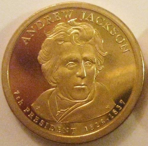 2008-S Deep Cameo Proof Andrew Jackson Presidential Dollar Mild Toning