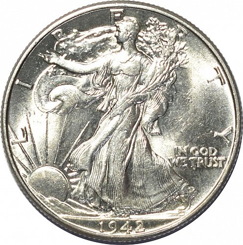 1942 Walking Liberty Half Dollar, (Item 106)