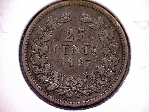 "1897 NETHERLANDS TWENTY-FIVE CENTS  ""SILVER"""