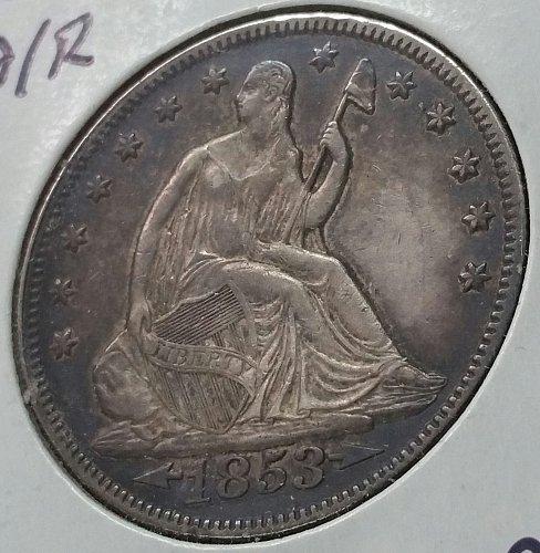 1853 Seated Liberty Half Dollar ~ Arrows and Rays ~ AU