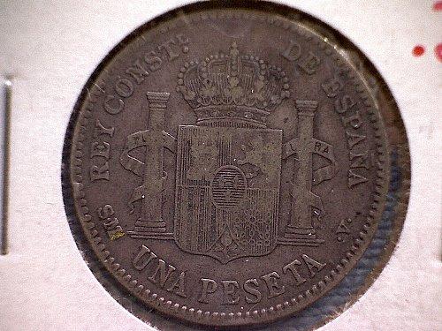 """1903-03  sm-v   SPAIN ONE PESETA  """"SILVER"""""""