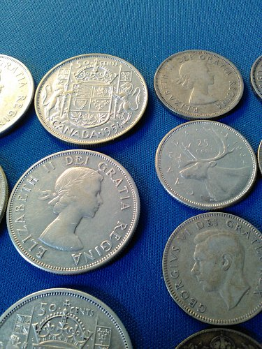 $5.00 FACE VALUE CANADIAN SILVER COINS -- ALL NICE COINS