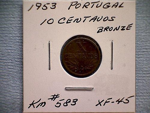 1953 PORTUGAL TEN CENTAVOS