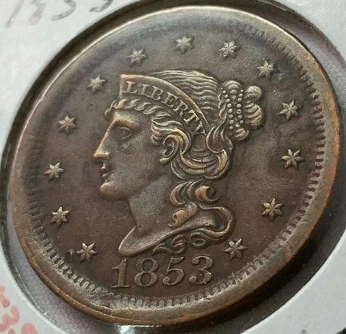 1853 P Braided Hair Liberty Head Large Cent ~ AU 55