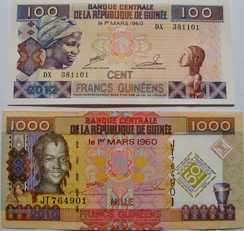 Guinea 2 CRISP Uncirculated Banknotes P35b and P43 100 and 1,000 Francs