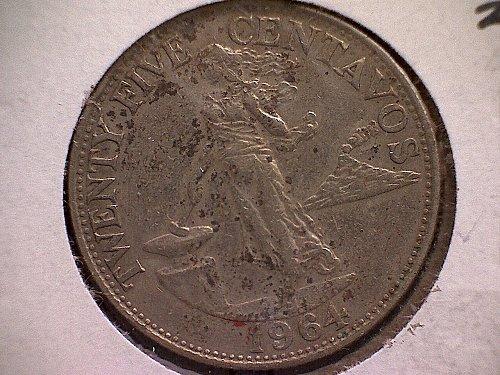 1964 PHILIPPINES TWENTY-FIVE CENTAVOS