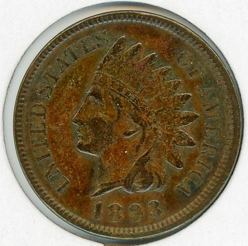 1893 Indian Head Cent Very Fine+ with Full Sharp LIBERTY #77