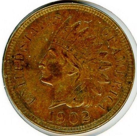 1902 Indian Head Cent AU55 with 4 Diamonds #82