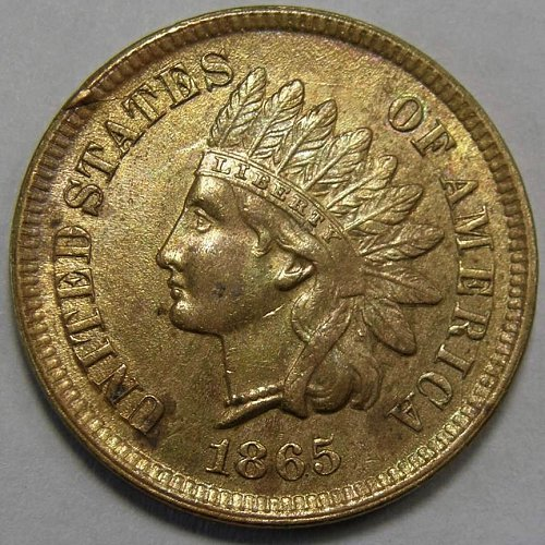1865 P Indian Head Cent FANCY 5 - MAJOR Die Crack Obverse & CUD 10:00 Error