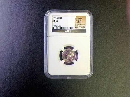 1996-W Roosevelt Dime. NGC MS66.  Ranked #21 Greatest Coins.