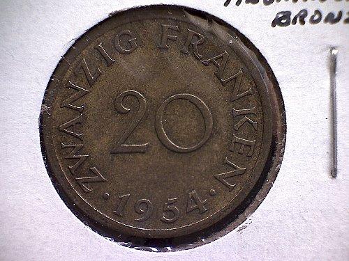1954 A  SAARLAND TWENTY FRANKEN