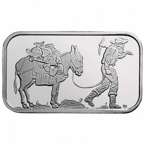 1 oz Silver Retro Prospector Silver Bar BU