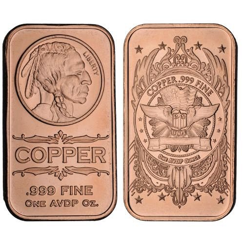 1 oz Indian Head Copper Bar | Brand New