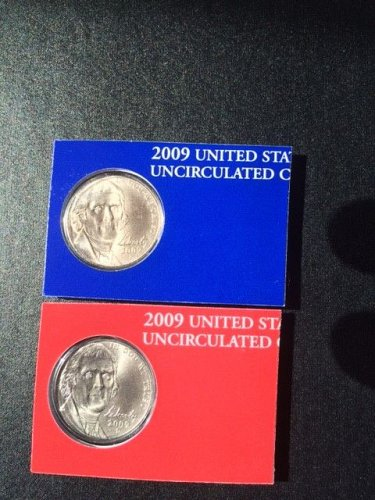 2009-P & D, 2 Coin Jefferson Nickel Set. Satin Finish. Gem BU from mint set.