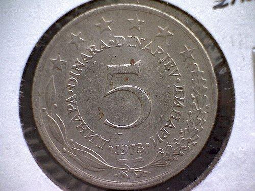 1973 YUGOSLAVIA  FIVE DINARA