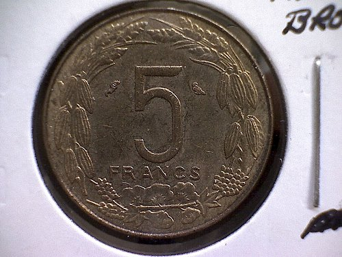 1970A EQUATORIAL AFRICAN STATES FIVE FRANCS