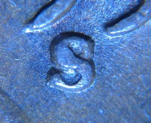 1951 S LINCOLN WHEAT CENT RPM 008 REPUNCHED MINT MARK ERROR