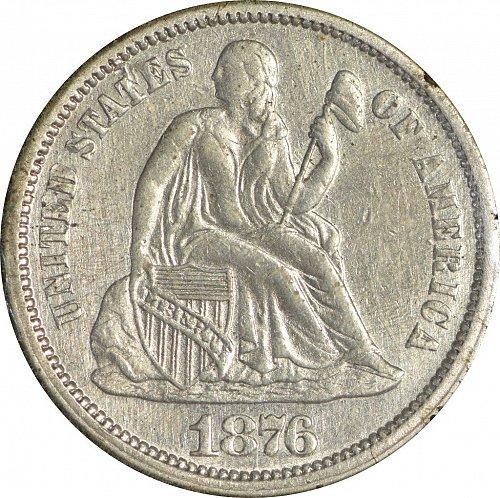 1876 Seated Liberty Dime, (Item 64)