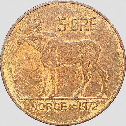 Norway, 5 Ore, 1972. Moose, King Olav V, MS 60, (Item 101)