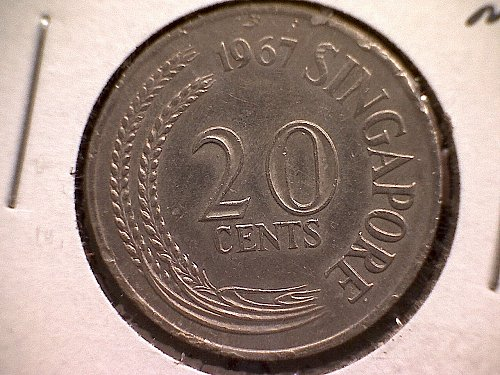 1967 SINGAPORE TWENTY CENTS