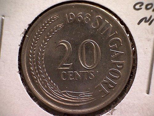 1968 SINGAPORE TWENTY CENTS