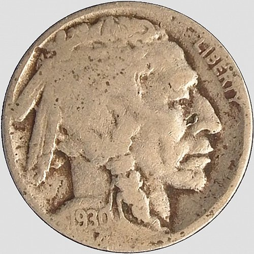 1930 Buffalo Nickel, Fully Readable Date (Item 100)