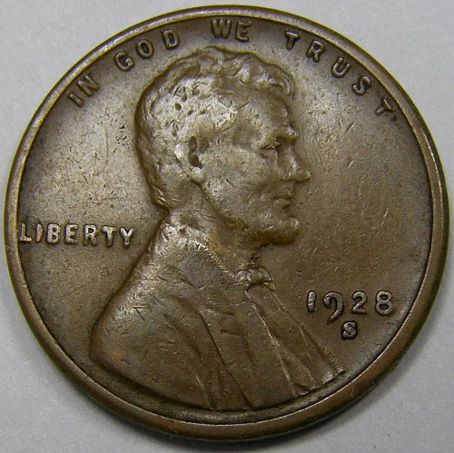 "1928 S Lincoln Wheat Cent #6 LARGE ""S"""