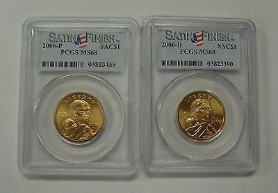 2006 P & D Sacagawea Dollar 2 Coin Set $1 PCGS MS68 Satin Finish SMS
