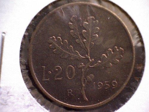 1959-R ITALY TWENTY LIRE