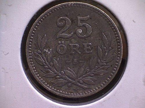 """1912-W SWEDEN TWENTY-FIVE ORE  """"SILVER"""""""