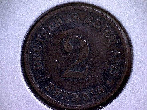 1875-C GERMANY TWO PFENNIG