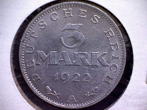 1922A  GERMANY THREE MARK