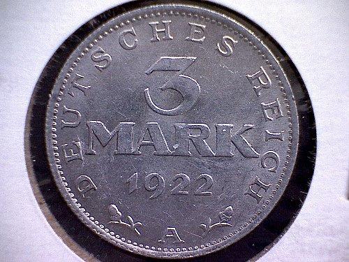1922A  GERMANY THREE MARK