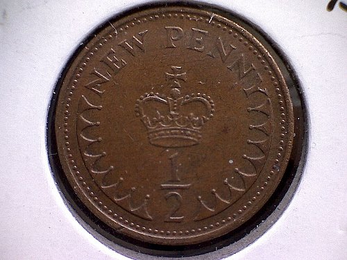 "1974 GREAT BRITAIN  HALF ""NEW"" PENNY  ELIZABETH 11"